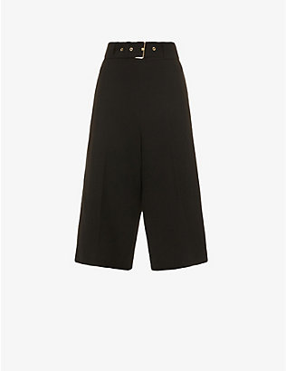 ROSETTA GETTY: Belted relaxed-fit cropped high-rise wool trousers