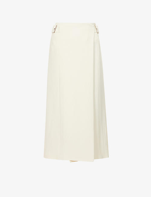 ROSETTA GETTY: Buckle-embellished high-waist wool-crepe midi skirt