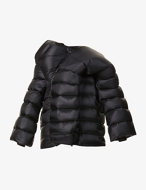 RICK OWENS: Moncler + Rick Owens padded asymmetric shell-down jacket