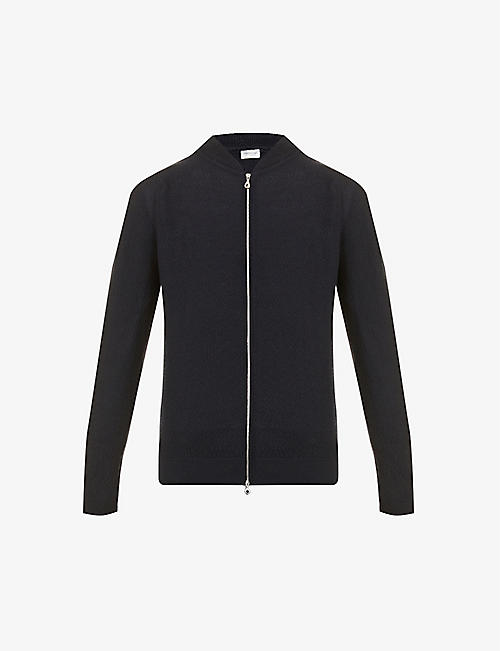 JOHN SMEDLEY: Stand-collar wool bomber jacket