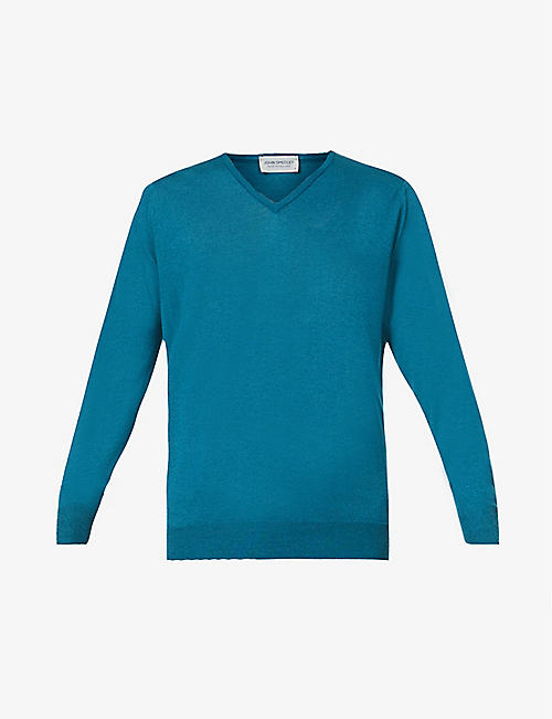 JOHN SMEDLEY: Blenheim V-neck wool-cotton blend jumper