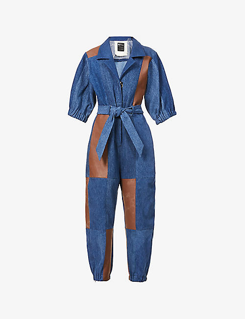 E.L.V. DENIM: E.L.V Denim x Hyundai Re:Style contrast-panel upcycled denim and leather jumpsuit
