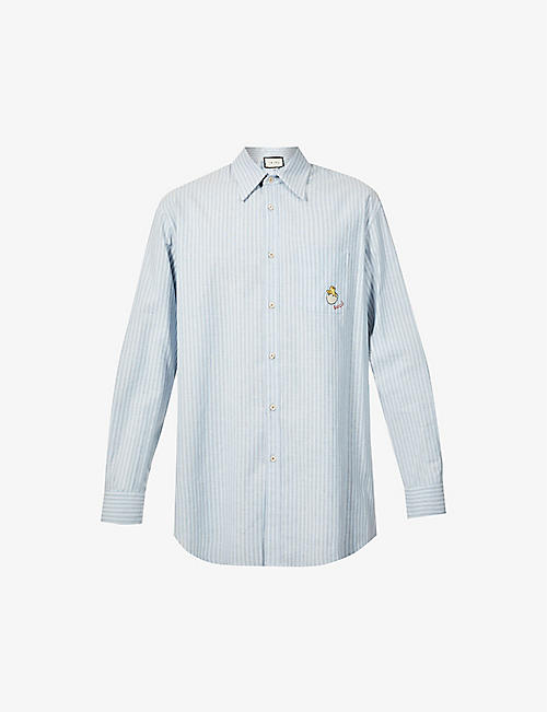 GUCCI: Striped relaxed-fit cotton shirt