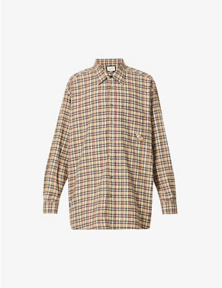 GUCCI: Brand-patch checked cotton shirt
