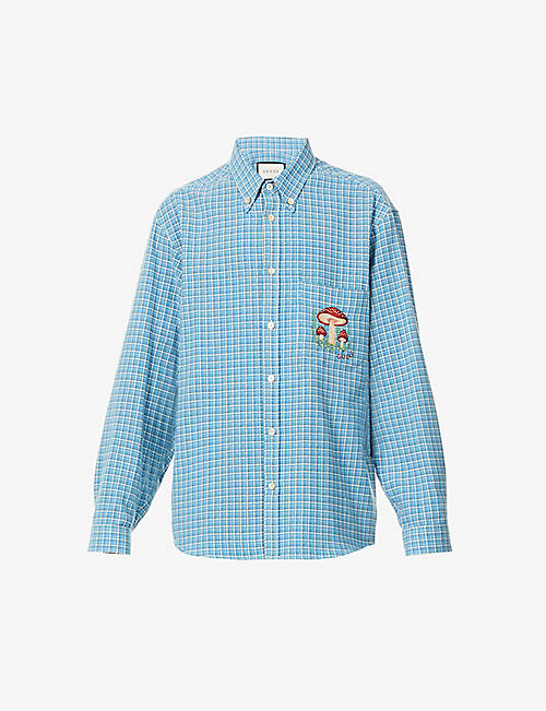 GUCCI: Brand-embroidered checked cotton shirt