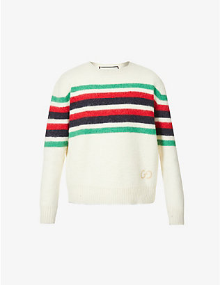 GUCCI: Web-stripe crewneck wool and alpaca-blend jumper