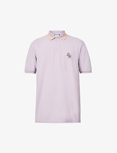 GUCCI: Brand-embroidered slim-fit cotton polo shirt