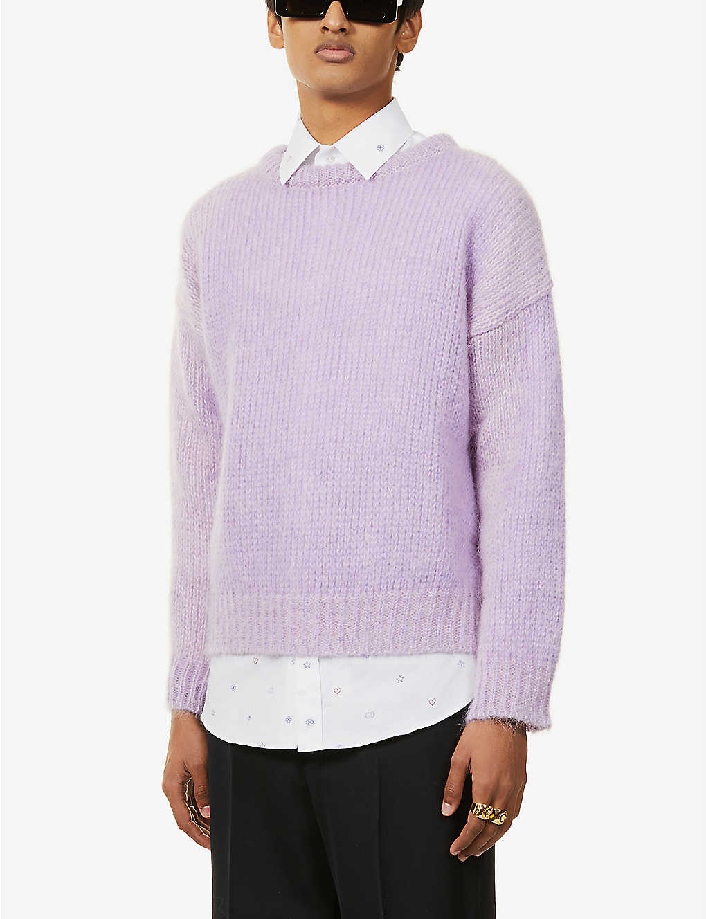 GUCCI: Brand-embroidered mohair-blend jumper