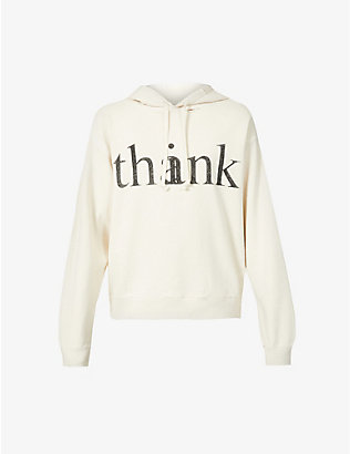 GUCCI: Think Thank text-print cotton-jersey hoody
