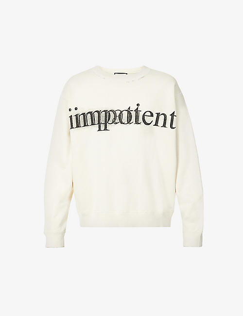 GUCCI: Impotent Impatient text-print cotton-jersey sweatshirt