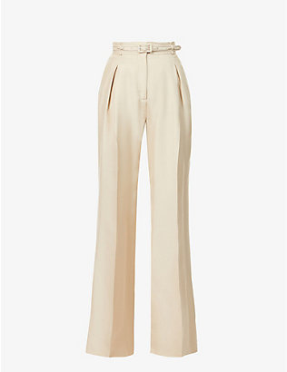 GABRIELA HEARST: Dora wide-leg high-rise recycled-silk and recycled-wool blend trousers