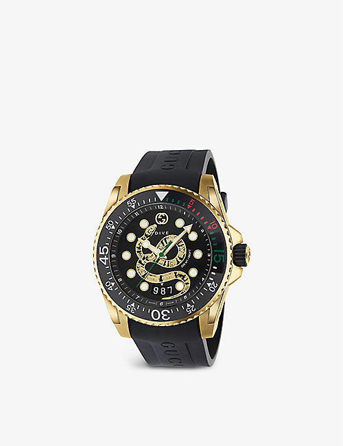 GUCCI: YA136219 Gucci Dive yellow gold-plated PVD and rubber quartz watch