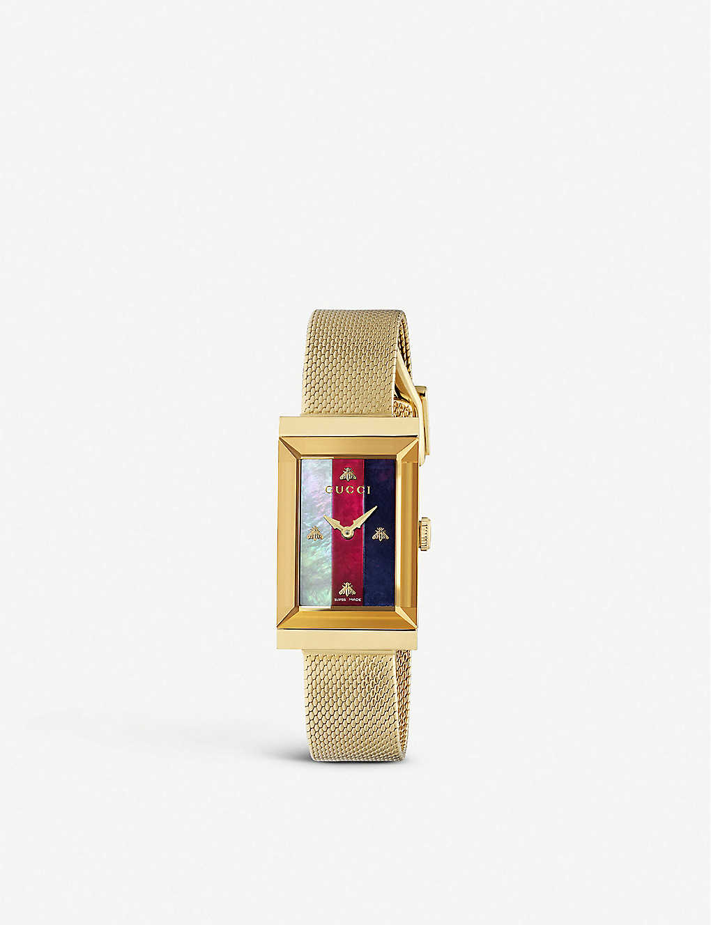 GUCCI: YA147410 G-Frame yellow gold-plated PVD and mother-of-pearl quartz watch
