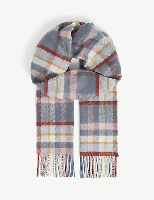 JOHNSTONS: Classic checked cashmere scarf