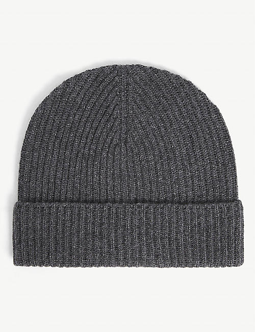 JOHNSTONS: Ribbed cashmere beanie hat