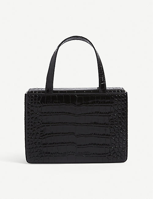 AMINA MUADDI: Georgia croc-embossed leather bag