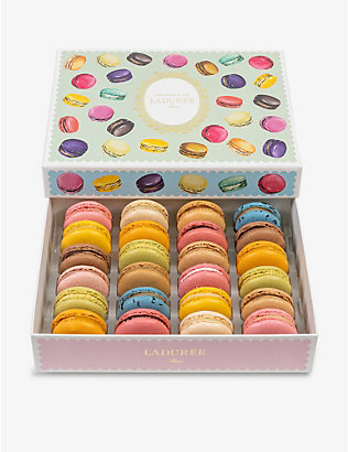 LADUREE: Gourmandise chocolate and caramel macarons box of 24 384g