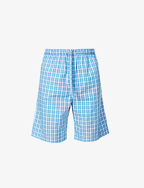 DEREK ROSE: Barker checked cotton pyjama shorts
