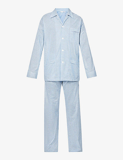 DEREK ROSE: Ledbury cotton-poplin pyjama top