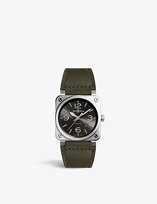 BELL & ROSS: BR0392 GC3 ST SCA stainless steel and leather watch