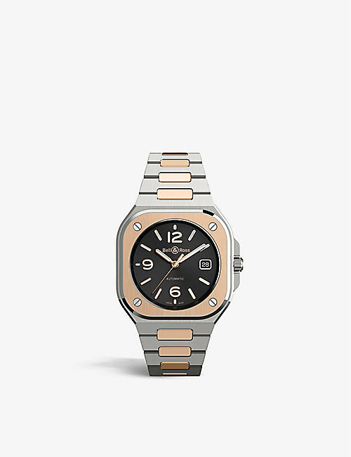 BELL & ROSS: BR05A-BL-STPG/SSG stainless steel and 18ct rose-gold automatic watch