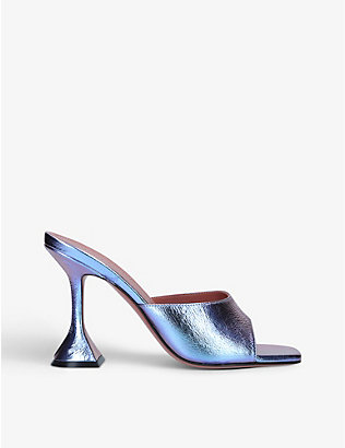 AMINA MUADDI: Lupita heeled metallic leather sandals