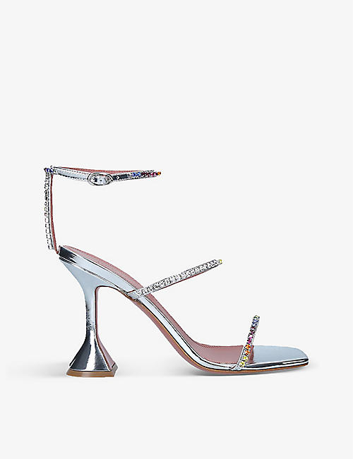AMINA MUADDI: Gilda crystal-embellished satin heeled courts