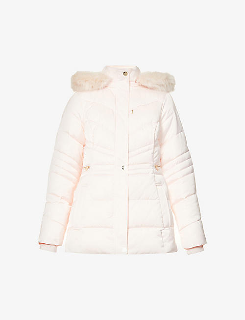 TED BAKER: Maliiva faux fur-trimmed padded shell coat