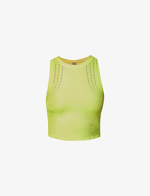 LORNA JANE: Contour Seamless cropped stretch-woven tank top