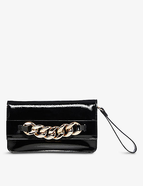 DUNE: Broadwayy chain-embellished patent faux-leather shoulder bag