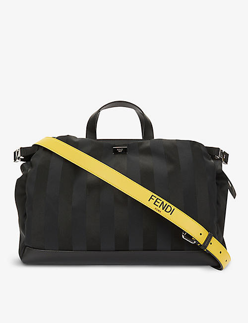 FENDI: Brand-plaque striped leather tote bag