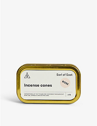 EARL OF EAST: Rose incense cones box of 16