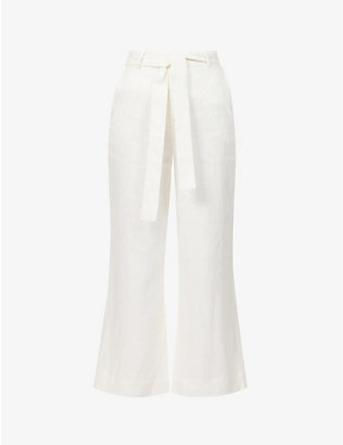 ZIMMERMANN: Poppy flared high-rise linen trousers
