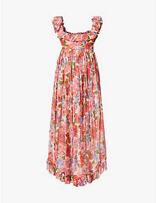 ZIMMERMANN: Poppy floral-print silk midi dress