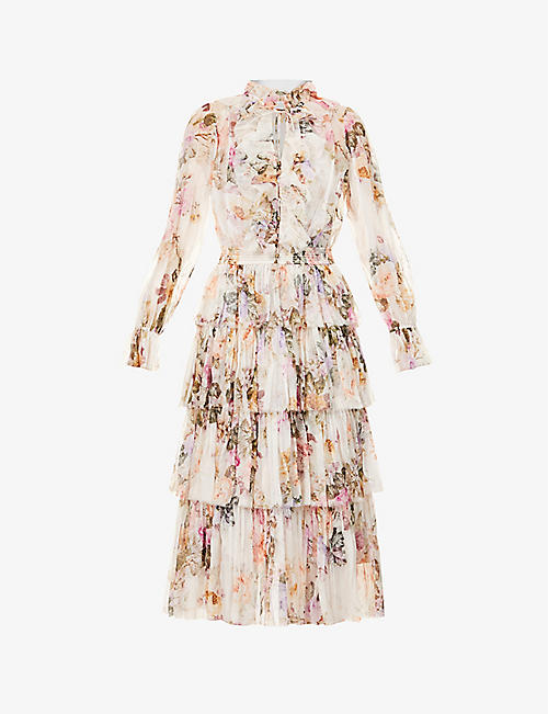 ZIMMERMANN: Zella floral-print silk-chiffon midi dress