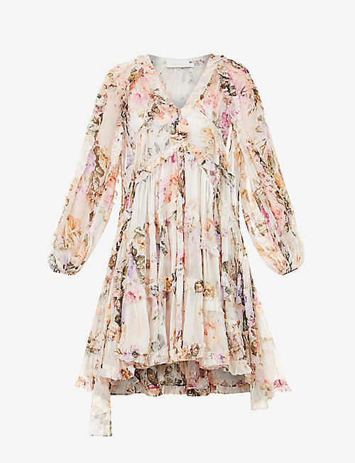 ZIMMERMANN: Zella floral-print silk-chiffon mini dress