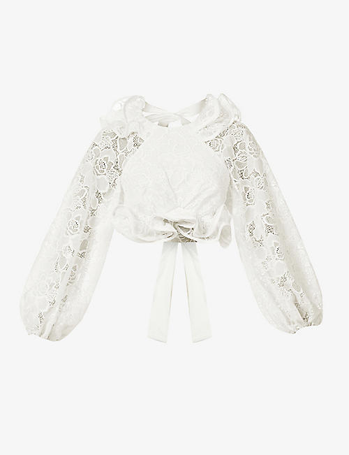 ZIMMERMANN: Lovestruck floral-pattern puff-sleeve cotton and linen top