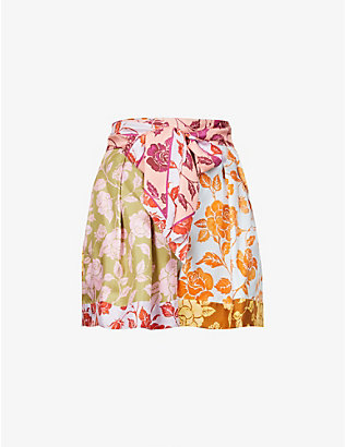 ZIMMERMANN: Lovestruck contrast floral-print high-rise silk-twill shorts