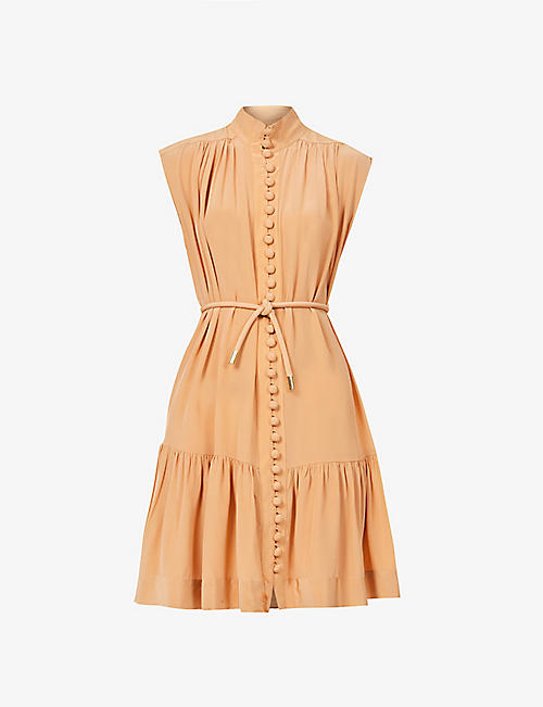 ZIMMERMANN: Button-down sleeveless silk-crepe de chine midi dress