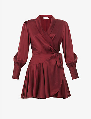 ZIMMERMANN: Ruffled silk-charmeuse mini wrap-dress