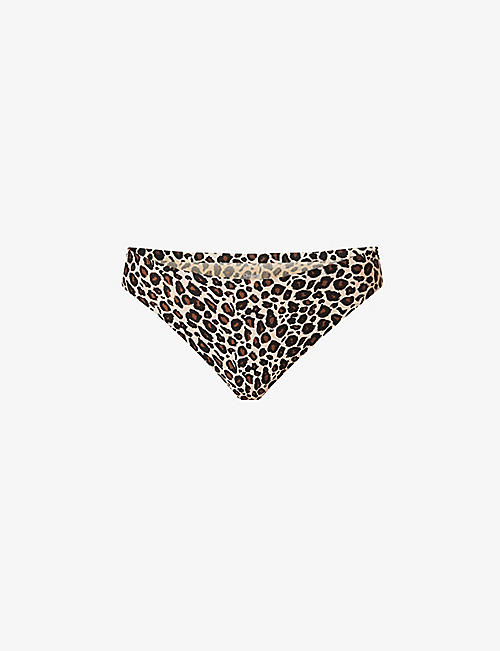 CHANTELLE: Leopard-print mid-rise stretch-jersey thong