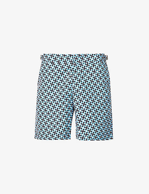 ORLEBAR BROWN: Bulldog Saona geometric-print regular-fit swim shorts