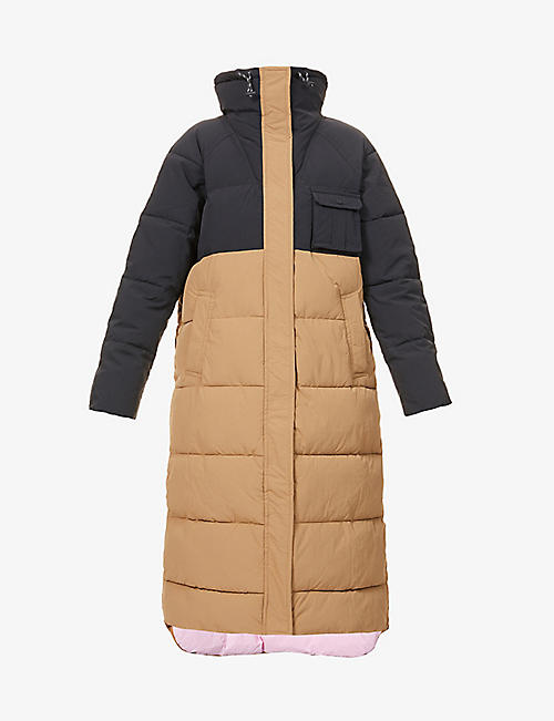 GANNI: Colour-blocked shell puffer coat
