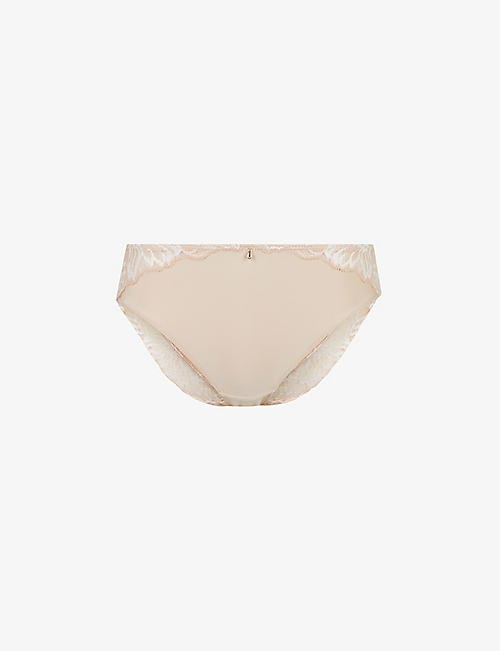 FANTASIE: Aubree lace-embroidered mid-rise stretch-jersey briefs