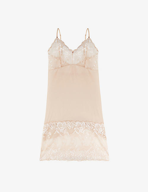 FANTASIE: Aubree lace-embroidered stretch-mesh chemise
