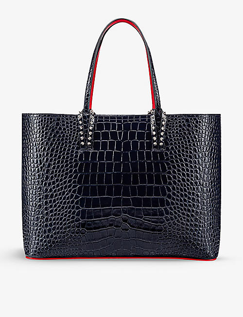 CHRISTIAN LOUBOUTIN: Cabata alligator-embossed leather tote bag