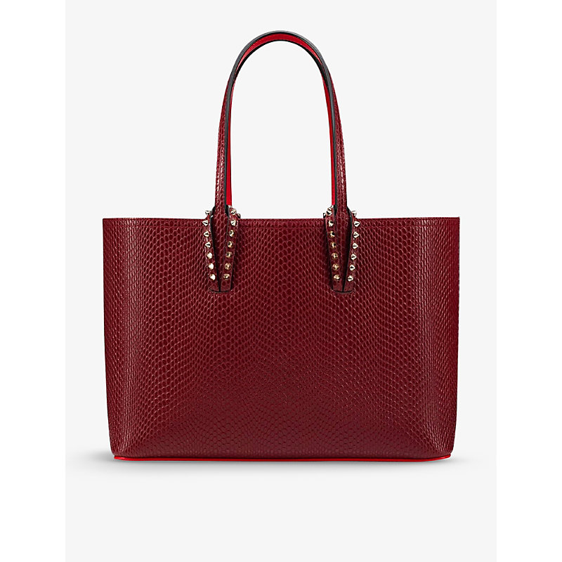 Christian Louboutin CABATA SMALL SNAKESKIN-EMBOSSED LEATHER TOTE BAG