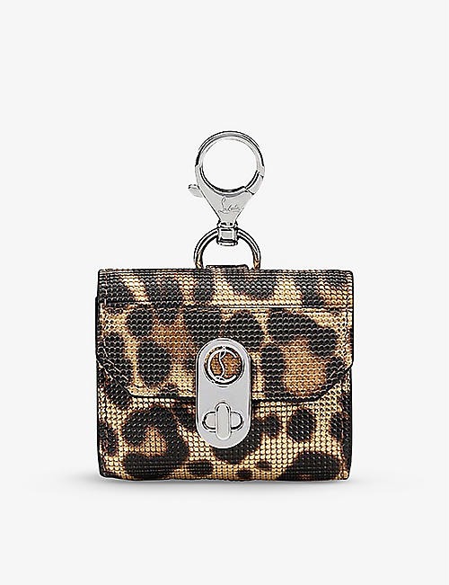 CHRISTIAN LOUBOUTIN: Elisa leopard-print leather AirPods case
