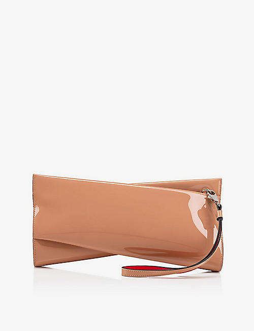 CHRISTIAN LOUBOUTIN: Loubitwist patent leather clutch bag