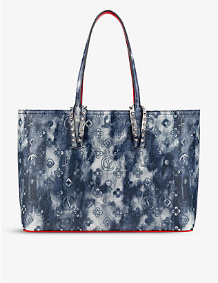 CHRISTIAN LOUBOUTIN: Cabata graphic-print leather tote bag